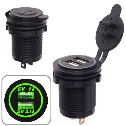 Автомобильное зарядное устройство 2 USB 12-24V врезное в планку  NEW (10251 USB-12-24V 3,1A GRE)
